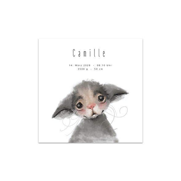 """Geburtskarte Einzelkarte """"Maus Camille"""""""