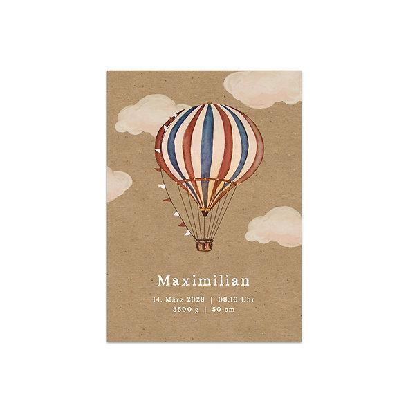 "Geburtskarte Einzelkarte ""Vintage Ballon Maximilian"""