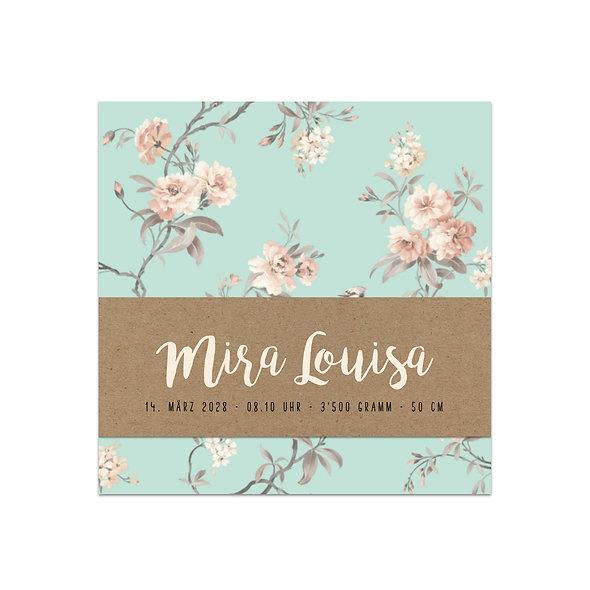 """Geburtskarte Einzelkarte """"Handlettering Vintage Mira"""""""