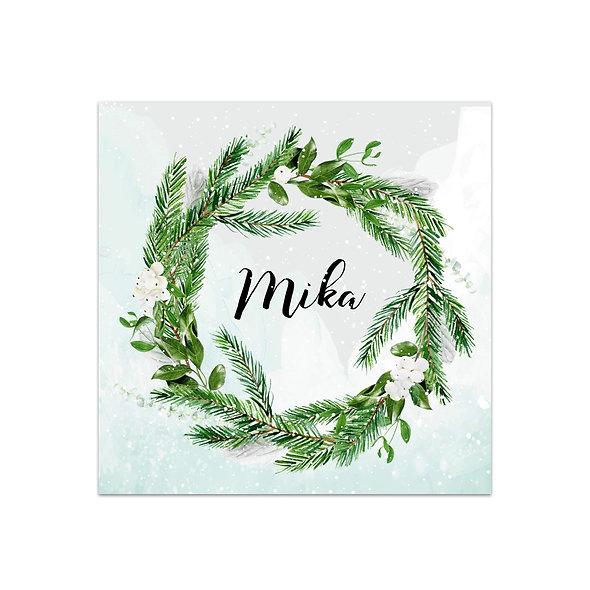"""Geburtskarte Einzelkarte """"Winterkranz Mika"""""""