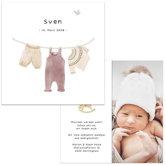 Geburtskarte Bohemian Boho Babykleider auf Wäscheleine