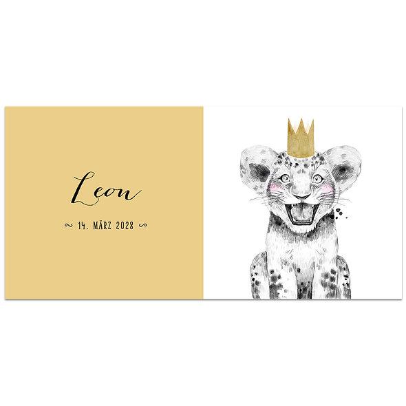 Geburtskarte Einzelkarte Safari Babies Löwe gelb Mädchen