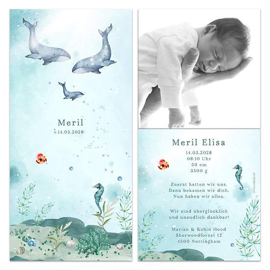 Geburtskarte Babykarte Unterwasser Unterwasserwelt Seepferdchen Fische und Walfisch