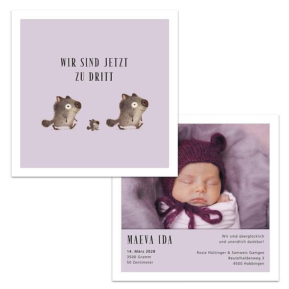 Geburtskarten Schweiz Lila zu dritt drei Tiere