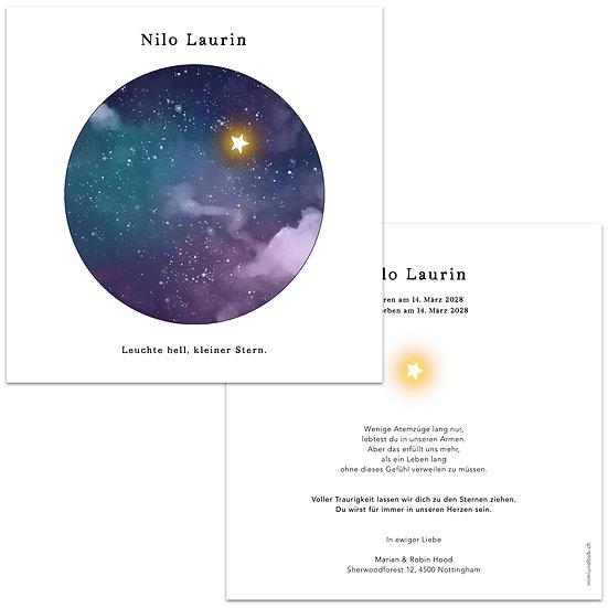 Geburtskarte Trauerkarte für Engelskind Sternenkind Stern fliegt am Himmel bei anderen Sternen