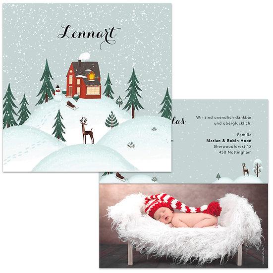 Geburtskarte Winterlandschaft Lennart