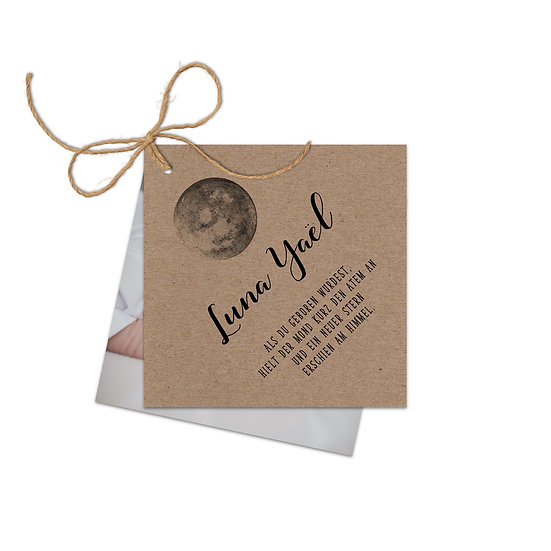 Geburtskarte Babykarte boho Bohemien Vintage echtes Kraftpapier Muskatpapier mit Mond Handlettering