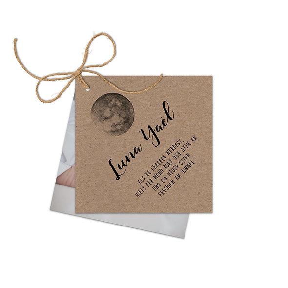 "Geburtskarte Fächerkarte Kraftpapier ""Luna"""