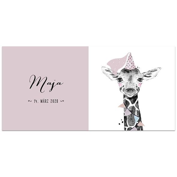 Geburtskarte Einzelkarte Safari Babies Giraffe rosa altrosa Mädchen