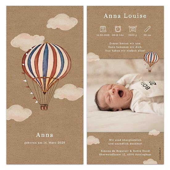 Geburtskarte Babykarte Muskatpapier Kraftpapier Heissluftballon Vintage Boho Bohemian