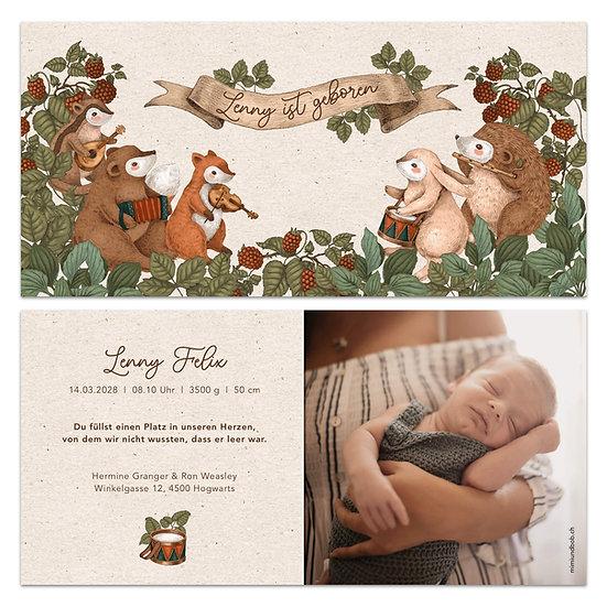 Geburtskarte Babykarte rustikaler Boho Stil mit Tieren und Instrumenten machen Musik Konzert Igel Hase Eule Eichhörnchen