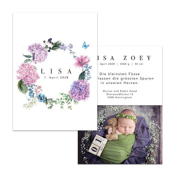 Geburtskarte Blumenkranz Violett Lila Hortensie Sommerblumen Sommerkranz Floral