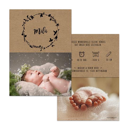 Geburtskarte Handlettering auf Kraftpapier mit Kranz