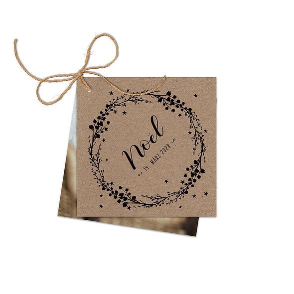 "Geburtskarte Fächerkarte Kraftpapier ""Noël"""
