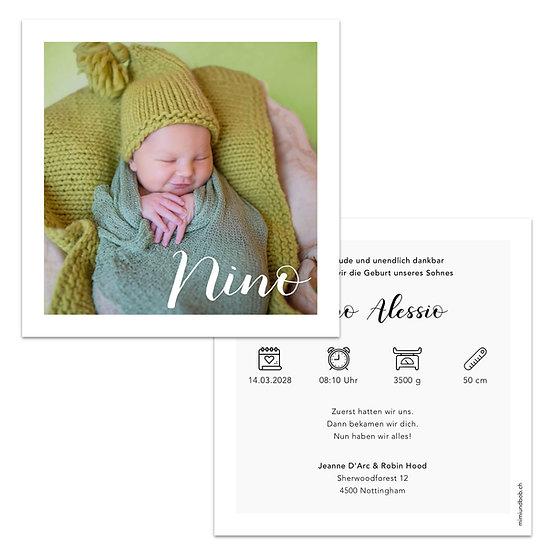 Geburtskarte grosses Foto von Baby