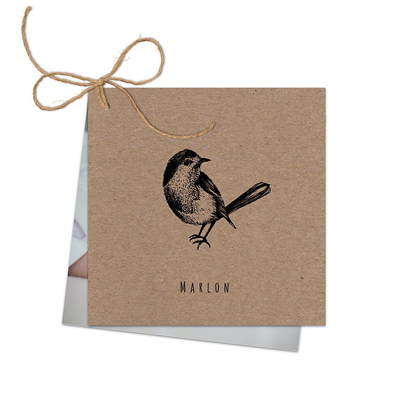 "Geburtskarte Fächerkarte Kraftpapier ""Vogel Marlon"""