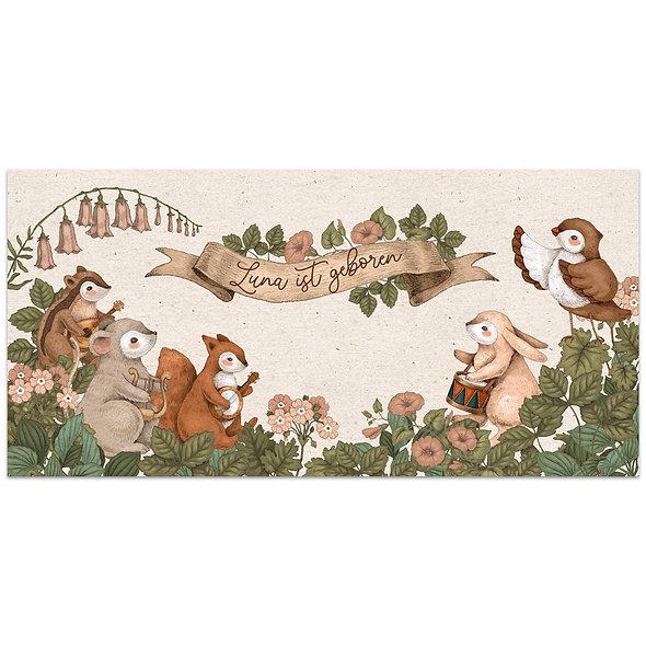 Geburtskarte mit Waldtieren die ein Konzert abhalten vintage rustikal natürlich kraftpapier illustriert handgezeichnet