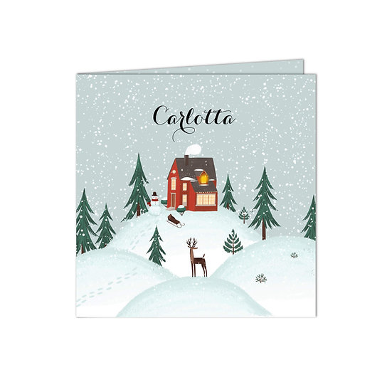 Geburtskarte Winterlandschaft Carlotta (Klappkarte)