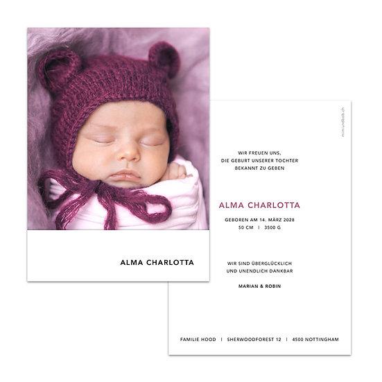 Geburtskarte violetter Kranz aus Beeren