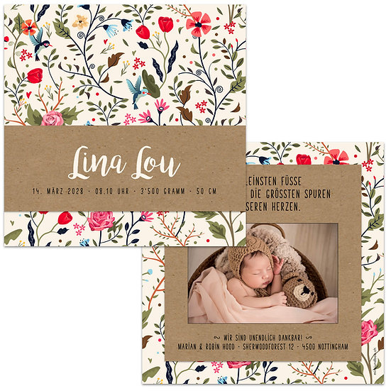 Geburtskarte Babykarte Handlettering auf Muskatpapier Blumenmuster