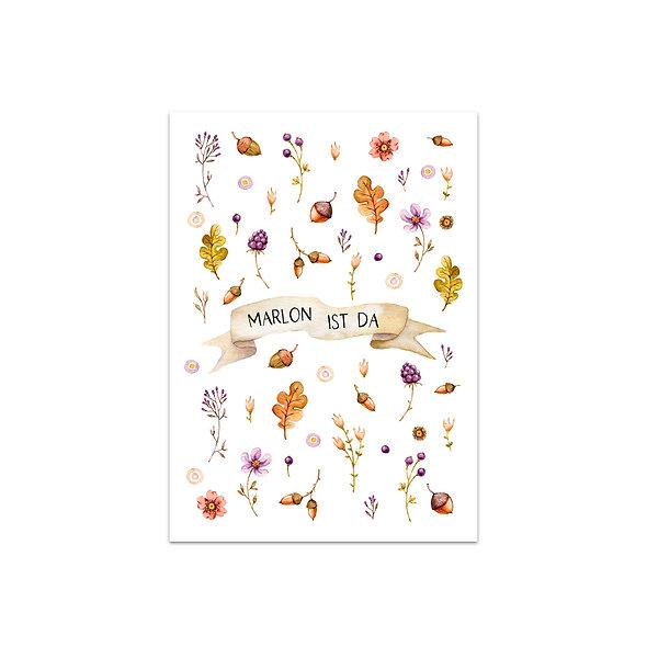 """Geburtskarte Einzelkarte """"Magischer Herbst Marlon"""""""