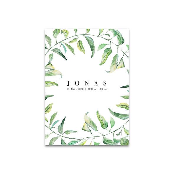Geburtskarte Aquarell Blätter Leafs