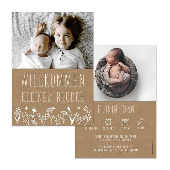 Geburtskarte Kraftpapier mit weisser Schrift und weissen Blumen
