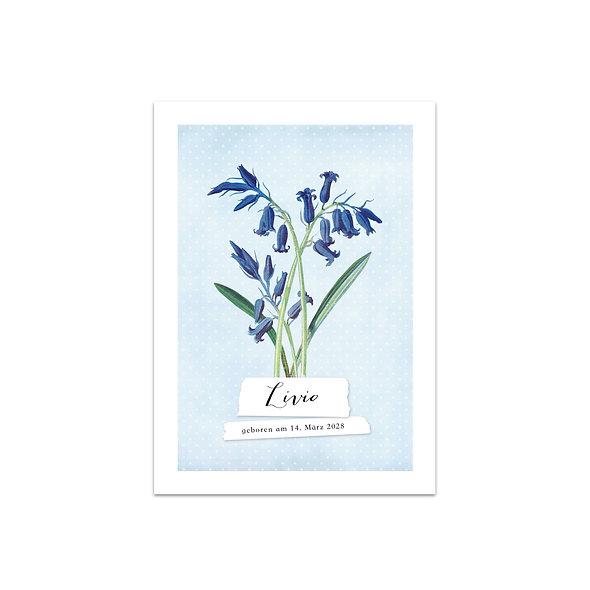 """Geburtskarte Einzelkarte """"Vintage Botanical Livio"""""""
