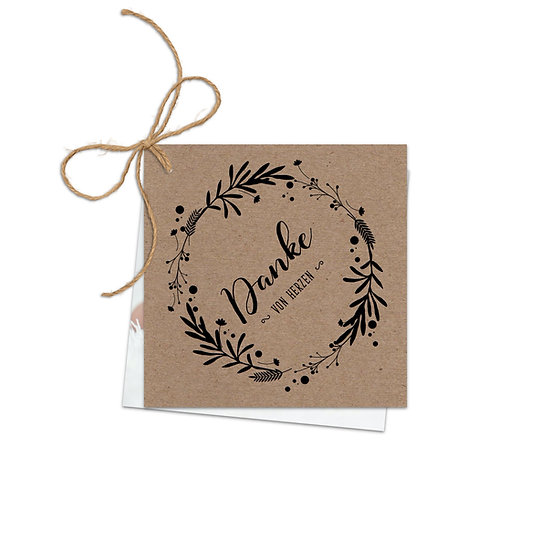 Dankeskarte Geburt Kraftpapier mit Fotokarte rustikal