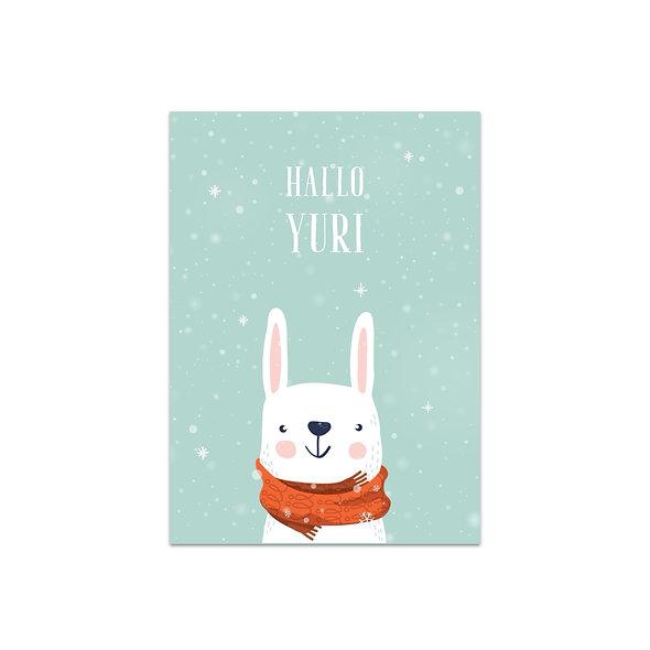 Geburtskarte Einzelkarte Schneeflocken Yuri