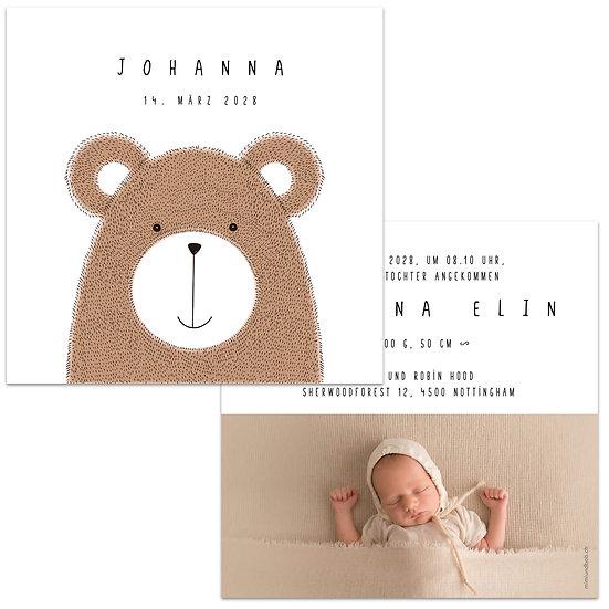 Geburtskarte Babykarte Bär Teddybär gezeichnet