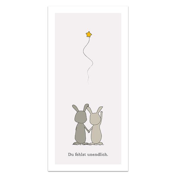 Geburtskarte Trauerkarte Engelskarte Sternenkarte Sternenkind Hasen Stern winken