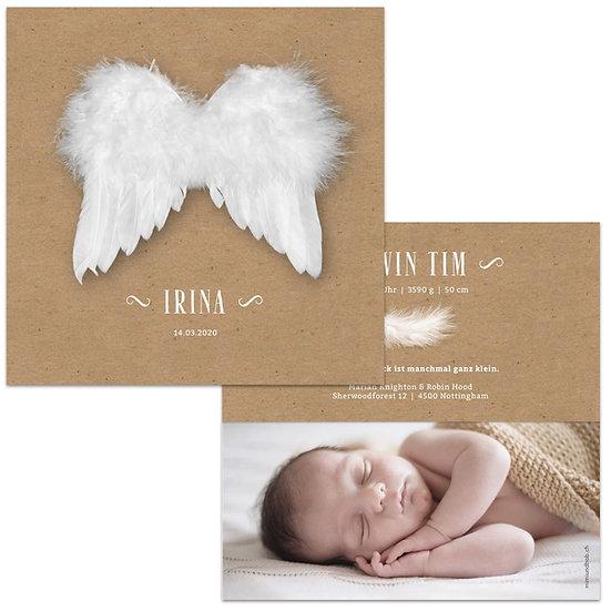 Geburtskarte Babykarte Kraftpapier mit Engelsflügeln aus Federn