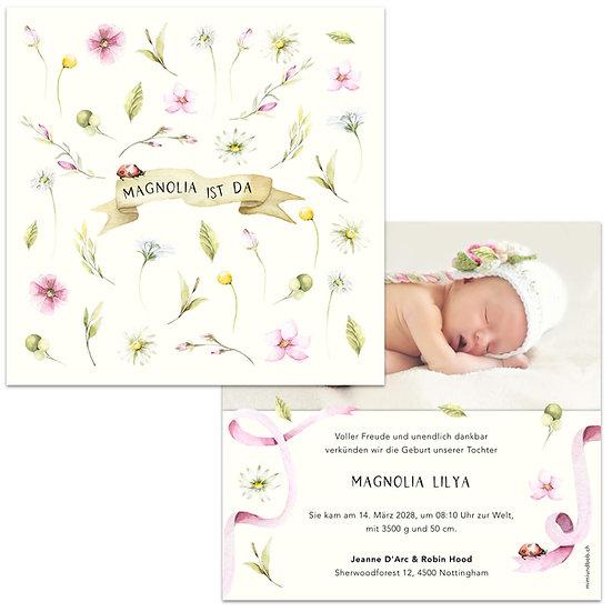 Geburtskarte Babykarte mit kleinen Wiesenblumen rosa und hellgrün Magnolien Magnolienblumen Magnolienblüten
