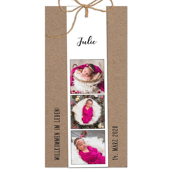 "Geburtskarte Fächerkarte Kraftpapier ""Julie"""