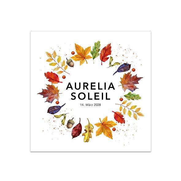 """Geburtskarte Einzelkarte """"Herbstkranz Aurelia"""""""