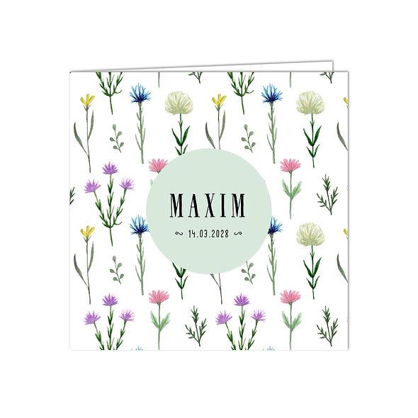 "Geburtskarte Falzkarte ""Blumenwiese Maxim"""