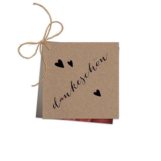 Dankeskarte Geburt Kraftpapier mit Fotokarte mit Herzen und Handlettering