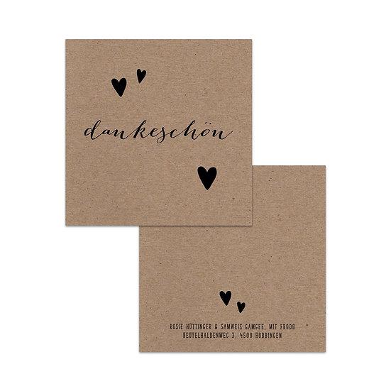 Dankeskarte Geburt Kraftpapier mit Herzen und Handlettering