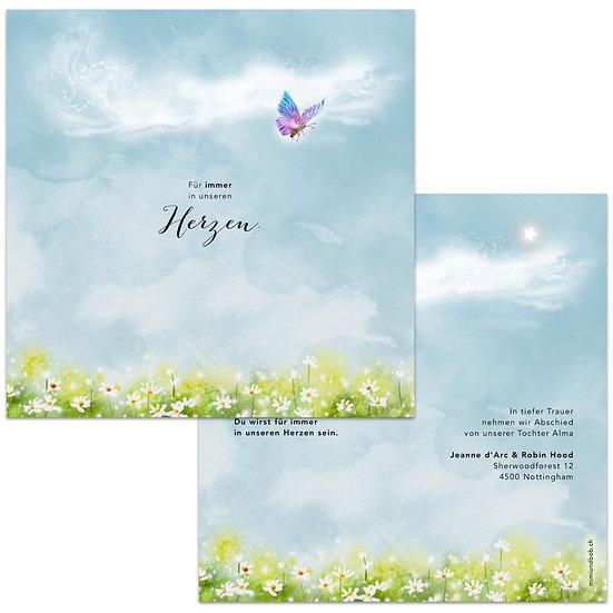 Geburtskarte Trauerkarte für Sternenkind Engelskind Schmetterling fliegt über Wiese Blumenwiese in den Himmel hoch