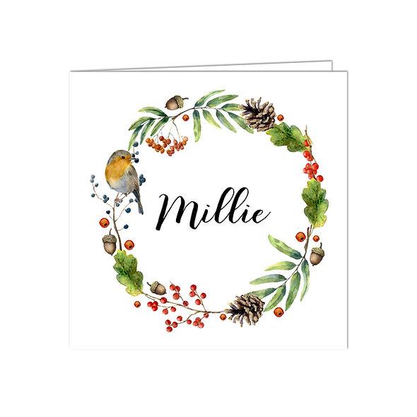 """Geburtskarte Falzkarte """"Herbstkranz Millie"""""""