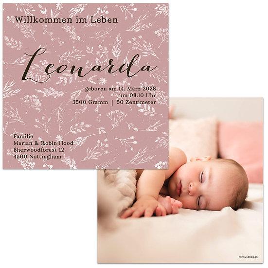 Geburtskarte Babykarte Vintage Boho mit Handlettering und rosa Muster Blumenmuster