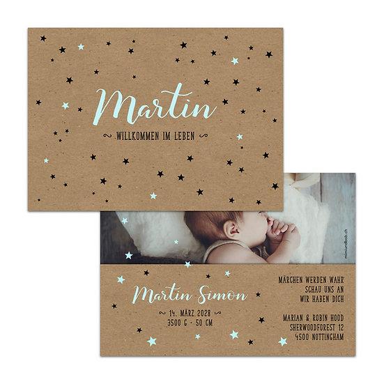 Geburtskarte Babykarte Handlettering auf Kraftpapier mit blauen Sternen Sternchen
