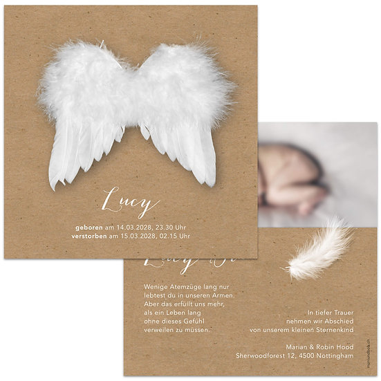 Geburtskarte Trauerkarte Sternenkind Engelsflügel Federn Kraftpapier