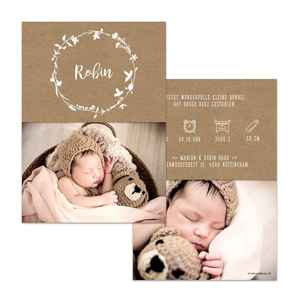 Geburtskarten Schweiz Kraftpapier Muskatpapier Weisser Blumenkranz mit Handlettering
