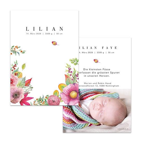Geburtskarte Babykarte Blumen lila rosa violett Blüten