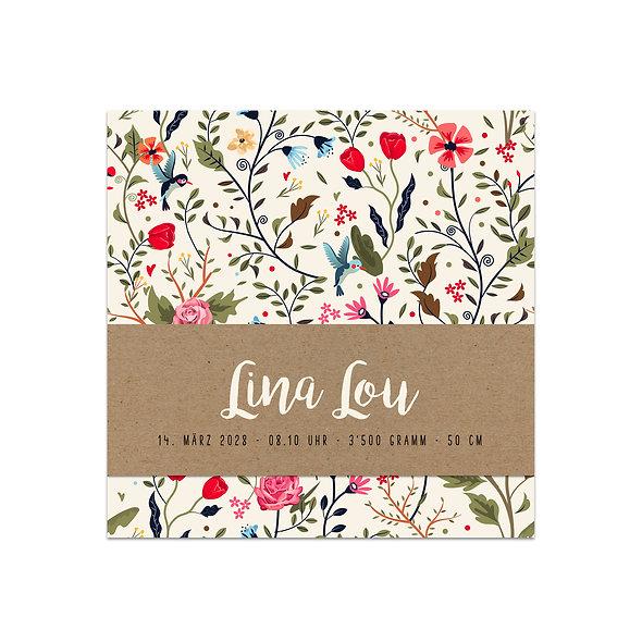 "Geburtskarte Einzelkarte ""Handlettering Lina"""