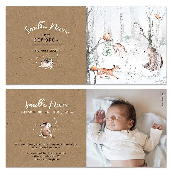 Geburtskarte Nordischer Winterwald Smilla