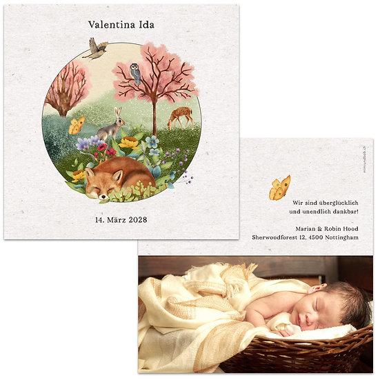Geburtskarte Babykarte mit Kraftpapier Reh Fuchs schlafend und Tiere magische Welt Märchenwelt märchenhaft