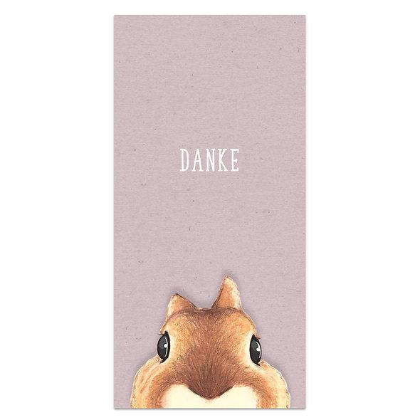 Dankeskarte Geburt Eichhörnchen Kraftpapier Lila